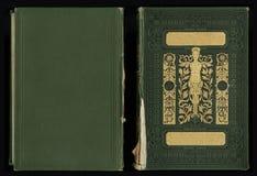 Härlig räkning av en tappningbok med den guld- blom- ramen en tom etikett för din text Arkivbilder