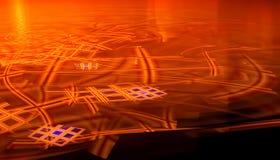 Härlig röd bakgrund av glödande partiklar och linjer med djup av fältet och bokeh 3d illustrationen, 3d framför stock illustrationer