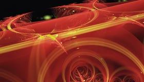 Härlig röd bakgrund av glödande partiklar och linjer med djup av fältet och bokeh 3d illustrationen, 3d framför vektor illustrationer