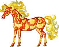 Härlig röd häst med en guld- blom- modell stock illustrationer