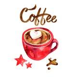 Härlig röd kopp varma marshmallows för choklad för flygillustration för näbb dekorativ bild dess paper stycksvalavattenfärg royaltyfri illustrationer