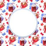Härlig röd kopp varma marshmallows för choklad Vattenfärgillustrationram stock illustrationer