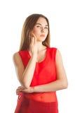 härlig röd kvinna royaltyfria foton