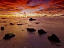 Härlig röd solnedgångfossila bränslenstad Malaysia Royaltyfri Fotografi