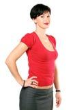 härlig röd tröjakvinna Royaltyfri Fotografi