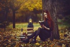 Härlig rödhårig flicka med böcker och ett lyktasammanträde under ett träd i hösten för skog A för höst den felika sagolika royaltyfri fotografi