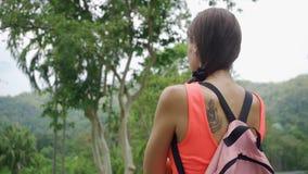 Härlig rainforest med en handelsresande för ung kvinna med en ryggsäck på vägen till skogen Thailand En kvinna promenerar lager videofilmer