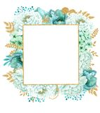 Härlig ram för vattenfärgmintkaramellblommor Guld- blommaram för mintkaramell! stock illustrationer
