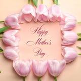 Härlig ram som göras av tulpan för dag för moder` s royaltyfri foto