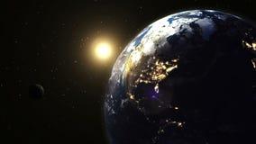 Härlig realistisk soluppgång över planetjord royaltyfri illustrationer