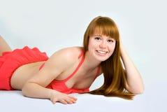 Härlig redheaded kvinna arkivbild