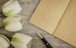 Härlig reservoarpenna och kraft anteckningsbok på träyttersida Special h?ndelse med kopieringsutrymme arkivfoto