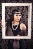 Härlig retro kvinna Royaltyfri Foto