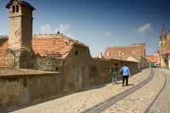 härlig romania sibiu town Royaltyfria Bilder