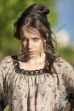 Härlig romantisk flicka utomhus Modell With Long Hair mot N Royaltyfri Fotografi