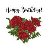 Härlig ros som isoleras på vit red steg Göra perfekt för bakgrundshälsningkort och inbjudningar av bröllopet, födelsedag stock illustrationer