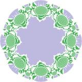 Härlig rosa färgrundakaraktärsteckning av blommatisteln Royaltyfria Foton