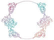 Härlig rund blom- ram med lutningpåfyllningen Rastergem ar Arkivbild