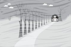 Härlig säsong med ladugård- och trädbakgrund Arkivbild