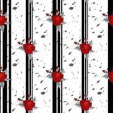 Härlig sömlös modell av röda rosor på randig svartvit bakgrund designhälsningkort och inbjudan av royaltyfri illustrationer