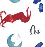 Härlig sömlös modell för julvattenfärg med pingvin, godisen, månen och tumvanten vektor illustrationer