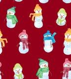 Härlig sömlös modell för julvattenfärg med snögubben stock illustrationer