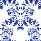 Härlig sömlös modell med blå blommagzhelstil Royaltyfri Foto