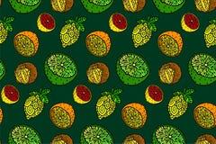 Härlig sömlös modell med citrusfrukter stock illustrationer