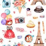 Härlig sömlös modell med Eiffeltorn, kamera, sötsaker stock illustrationer