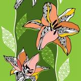 Härlig sömlös modell med liljor på ett ljus - grön bakgrund Vektor Illustrationer