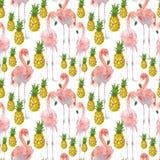 Härlig sömlös sommarmodellbakgrund med den tropiska flamingo och ananas Göra perfekt för tapeter, webbsida stock illustrationer