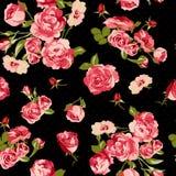 Härlig sömlös tappningbakgrund med rosor Arkivbilder