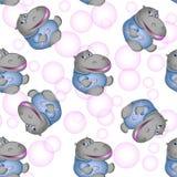 Härlig sömlös textur Flodhäst med rosa bubblor Abstrakt bakgrund, barns design, websitedesign stock illustrationer