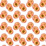 Härlig sömlös textur med frukttextur med persikor Arkivfoto