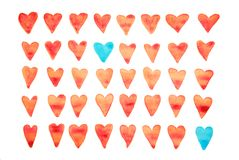 Härlig sömlös vattenfärgmodell med hjärtor Kan användas för wallpaperen, modellpåfyllningar, rengöringsduksidabakgrund, surface t Fotografering för Bildbyråer