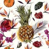 Härlig sömlös vektormodell med orkidér a för tropiska växter royaltyfri illustrationer