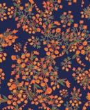 Härlig sömlös vektormodellwitth förenklade orange blommor på blå bakgrund vektor illustrationer