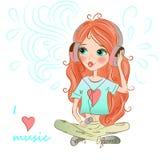 Härlig söt rödhårig flicka med fräknar stock illustrationer