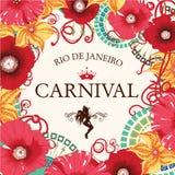 Härlig sambadansare och blommainbjudan royaltyfri bild