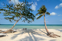 Härlig sandstrand i den Phu Quoc ön, Vietnam Fotografering för Bildbyråer