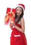 Härlig Santa Claus för Asien kvinnakläder dräkt Royaltyfri Bild