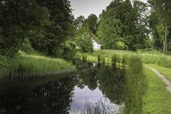 Härlig scenisk sikt längs ström av vatten i parkera royaltyfri fotografi