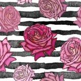 Härlig seamless rose modell royaltyfri illustrationer