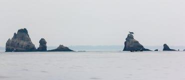 Härlig seascape med vaggar i Matsushima, Japan. Arkivbild