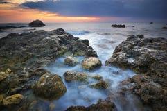 härlig seascapesolnedgång paradis för natur för sammansättningsdesignelement Arkivfoto