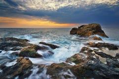 härlig seascapesolnedgång paradis för natur för sammansättningsdesignelement Fotografering för Bildbyråer
