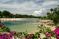 Härlig Sentosa strand i Singapore på den Sentosa ön fotografering för bildbyråer