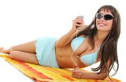 härlig sexig bikiniflicka arkivfoto