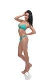 Härlig sexig full kvinna för kroppbrunettskönhet i blå underkläder Royaltyfri Fotografi