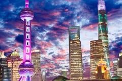 Härlig Shanghai stadsnatt Royaltyfri Foto